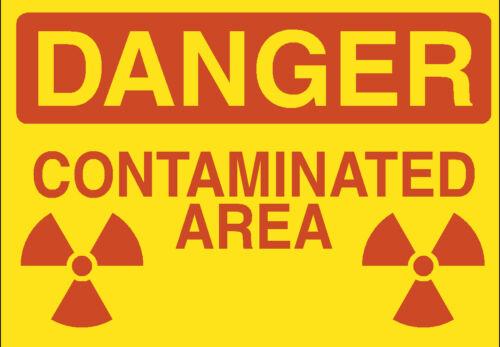 6 X DANGER CONTAMINATED AREA STICKERS