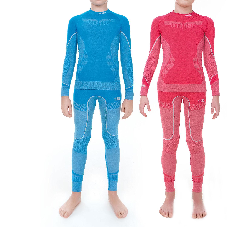 Kinder lange Thermounterwäsche Set Hose und T-Shirt Skiunterwäsche Sport