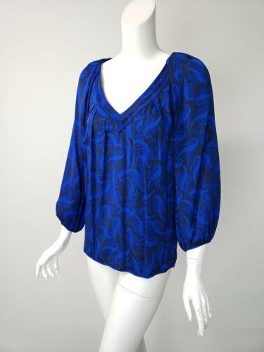 DIANE VON FURSTENBERG Slate Blue Cobalt Print Silk