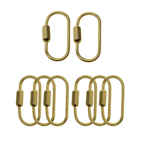 2//6x Oval Ring Screw Locking Mini Carabiner Clip Key Chain Key Rings Holders
