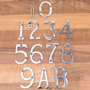 "A 50mm CHROME METAL DOOR NUMBERS 1,2,3,4,5,6,7,8,9,0 B 2/"""