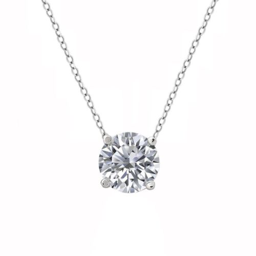 """1 ctw Round Choker Necklace Solitaire 14k White Gold w// 13/""""-16/' Adjustable Chain"""