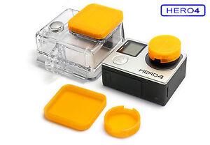 Linsen-Schutz-f-GoPro-HERO-4-Zubehoer-Lens-Cap-Protector-Abdeckung-Kappe-Orange