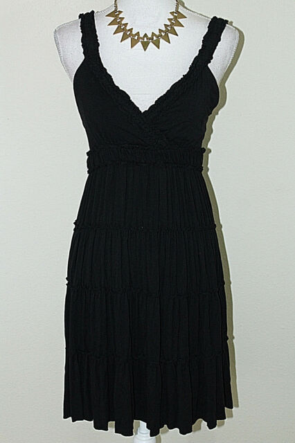 MOA MOA Womens Size M Black Stretch Ruffled Empire Waist Sleeveless Tank Dress