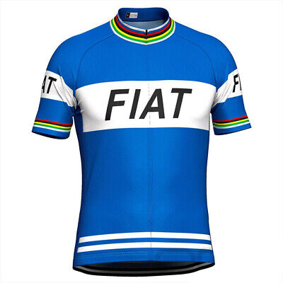 1977 FIAT Merckx Cycling Jersey Retro Road Pro Clothing MTB Short Sleeve Bike