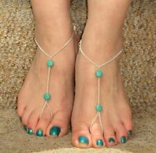 Boho Hot Turquoise Pearl Bead Barefoot Sandal Foot Toe Ring Jewelry Beach Anklet