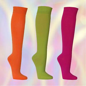 3-6-Paar-Hochwertige-Damen-Kniestruempfe-Neon-Socken-Bein-Knie-Struempfe