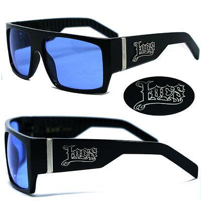 Locs Mens Cholo Biker Flat Top Designer Sunglasses - Black / Blue Lens LC74