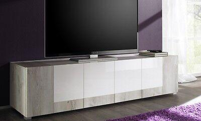 Mobile porta tv basso in acero e bianco lucido etnico for Mobile soggiorno basso