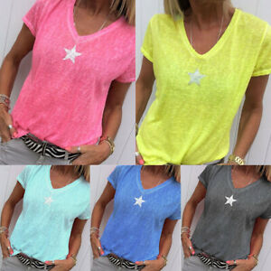 Womens-Summer-Short-Sleeve-V-Neck-T-Shirt-Tops-Loose-Fit-Casual-Sport-Tee-Shirts