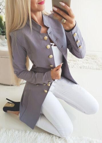 Damen Retro Blazer Mantel Knöpfe Casual Jacke Slim Langarm Anzugjacke Trenchcoat