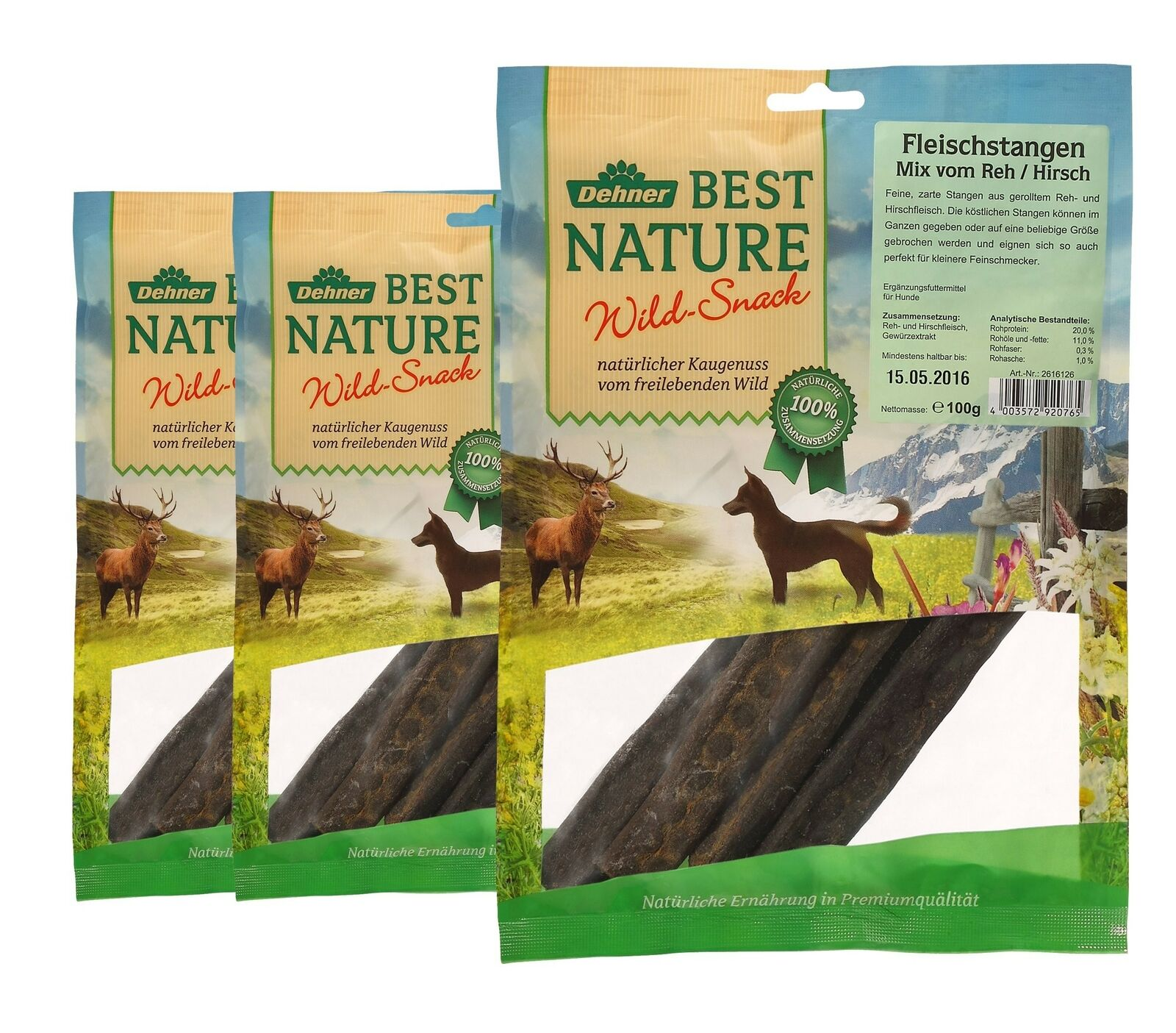 Dehner Best Nature Deer Deer Dog Snack Meat Sticks 3 x 100 g (300 g)