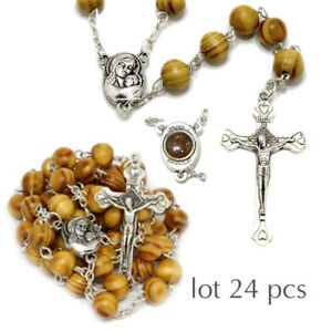 24pcs-Jerusalem-Blessed-Handmade-Olive-Wood-Prayer-Rosary-Beads-with-Holy-Soil