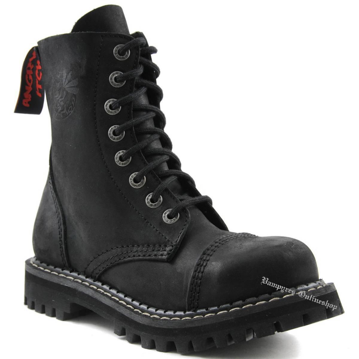 Angry Itch 8-Loch Vintage Schwarz Rangers Leder Stiefel Schuhe Stiefel Stahlkappen