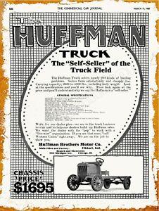 1920 Huffman Brothers Motor Company Trucks New Metal Sign Elkhart Indiana Ebay