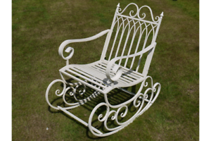 Garden SEDIA A DONDOLO Crema Shabby Chic Stile Vintage Invecchiato Sedile