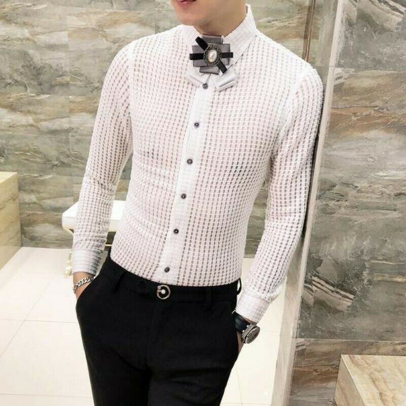 Men Hollow Out Blouses Slim Fit Long Sleeve Solid Youth Clubwear Casual Shirt Sz