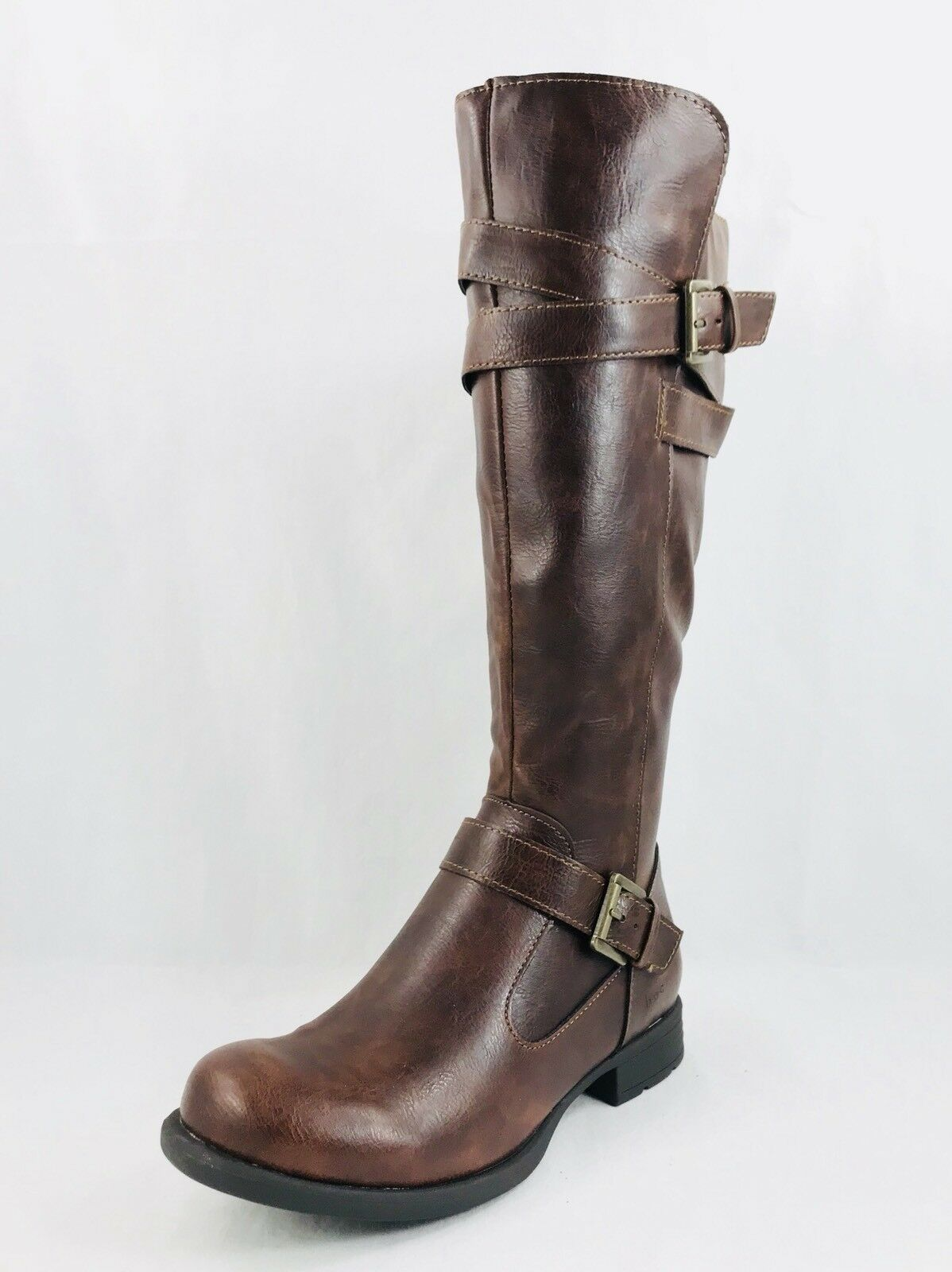 Born Concepts B.O.C. Mays Riding Boots Side Zip Brown Women Sz 6.5
