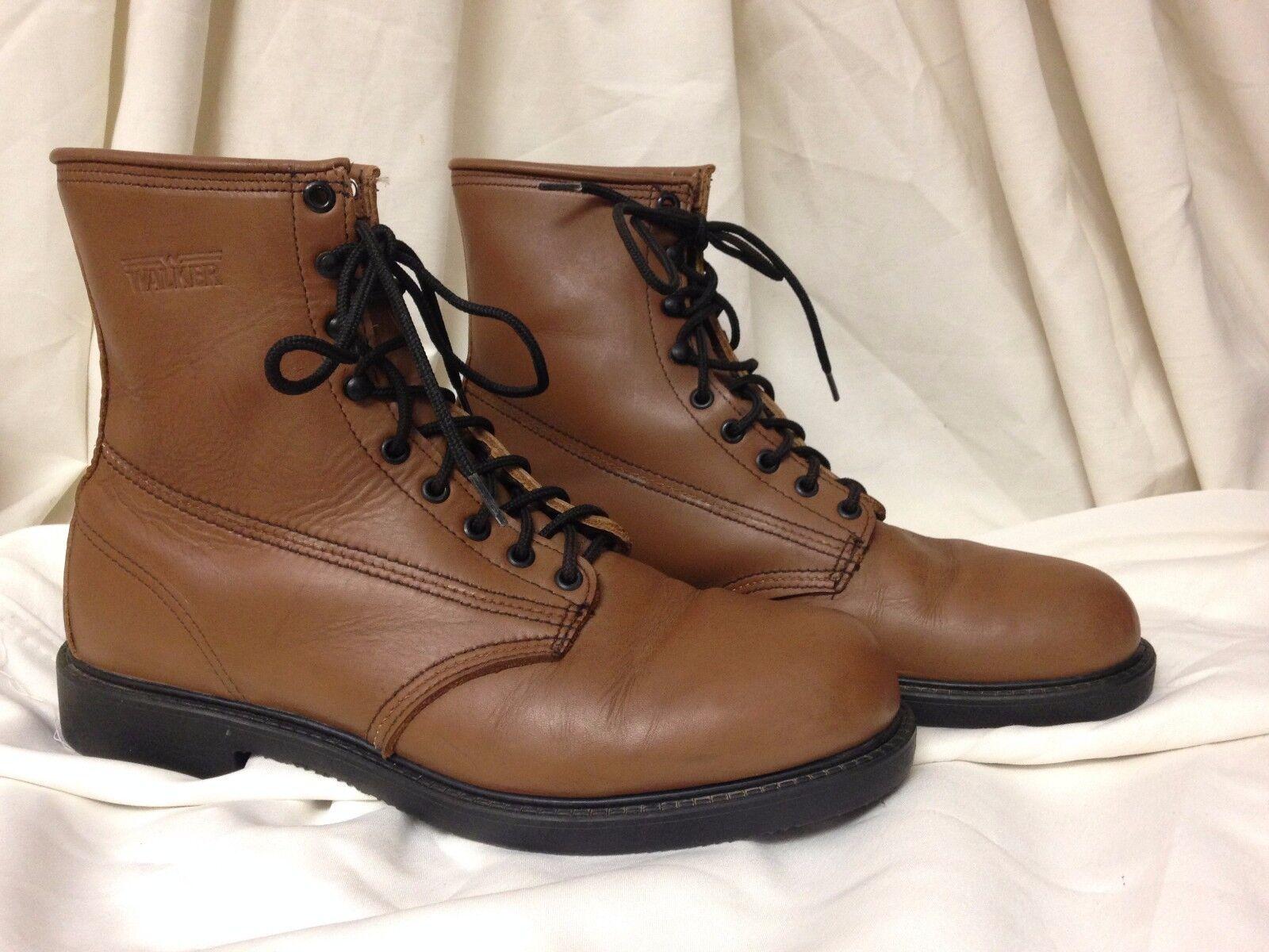 Walker Men's Brown Lace Up Plain Toe Derby Boots - Size US 11