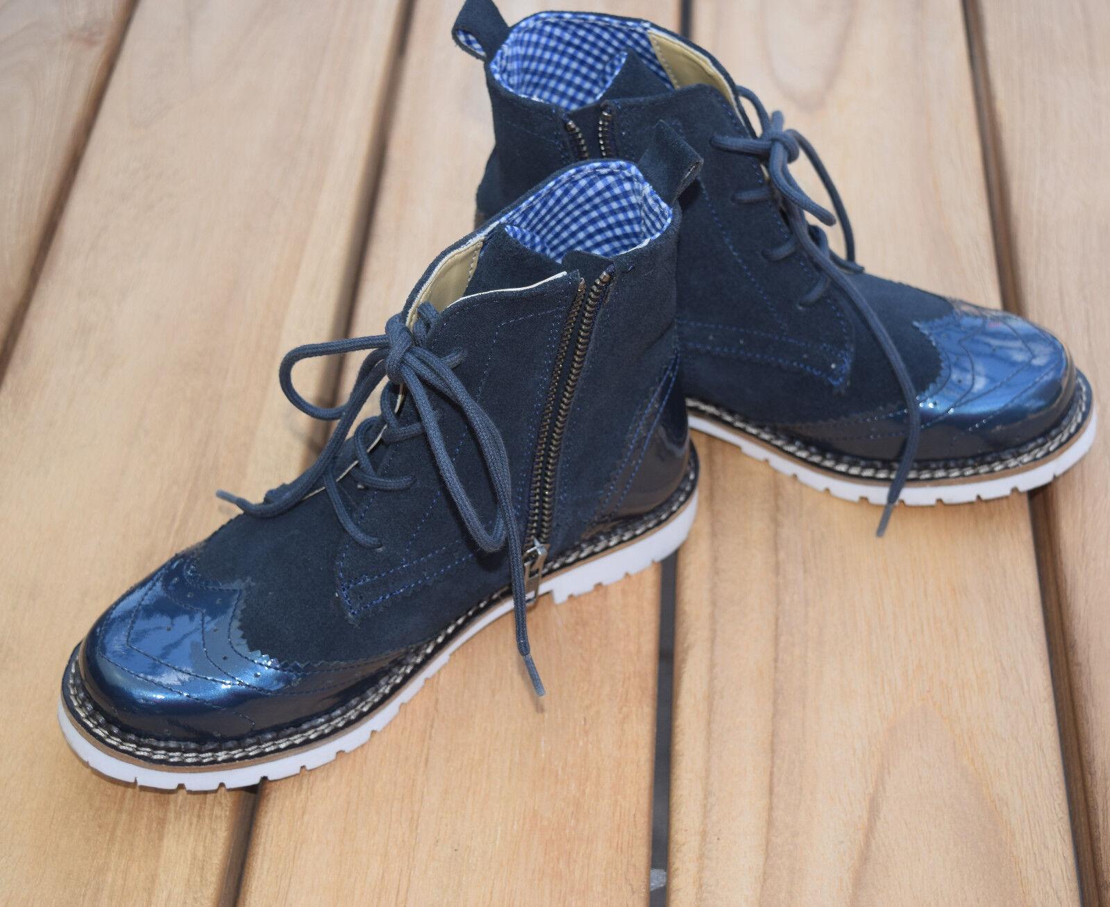 Spieth Wensky Trachtenschuhe Damen Jelka Stiefel Lack Crosta Navy Blau Wiesn Oktob