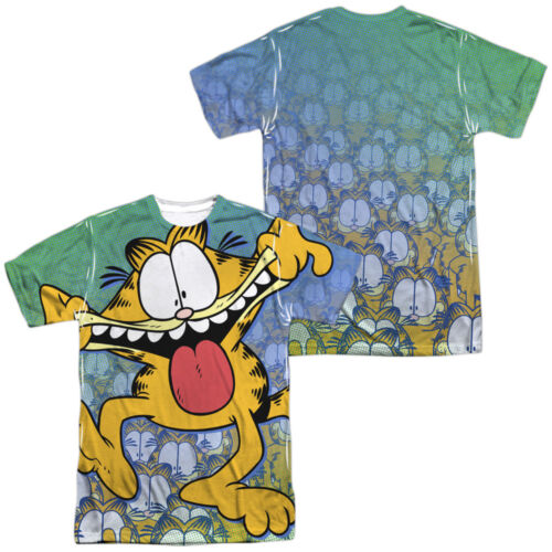 Garfield Comic Cat GOOFY FACE 2-Sided Sublimated All Over Print Poly T-Shirt