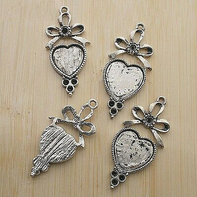 5pcs 36x17mm antique silver bowknot heart cabochon settings G102