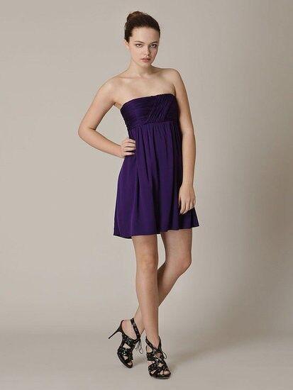 Alice + Olivia Draped Bodice DYLAN lila Silk Strapless Dress SMALL 2-4