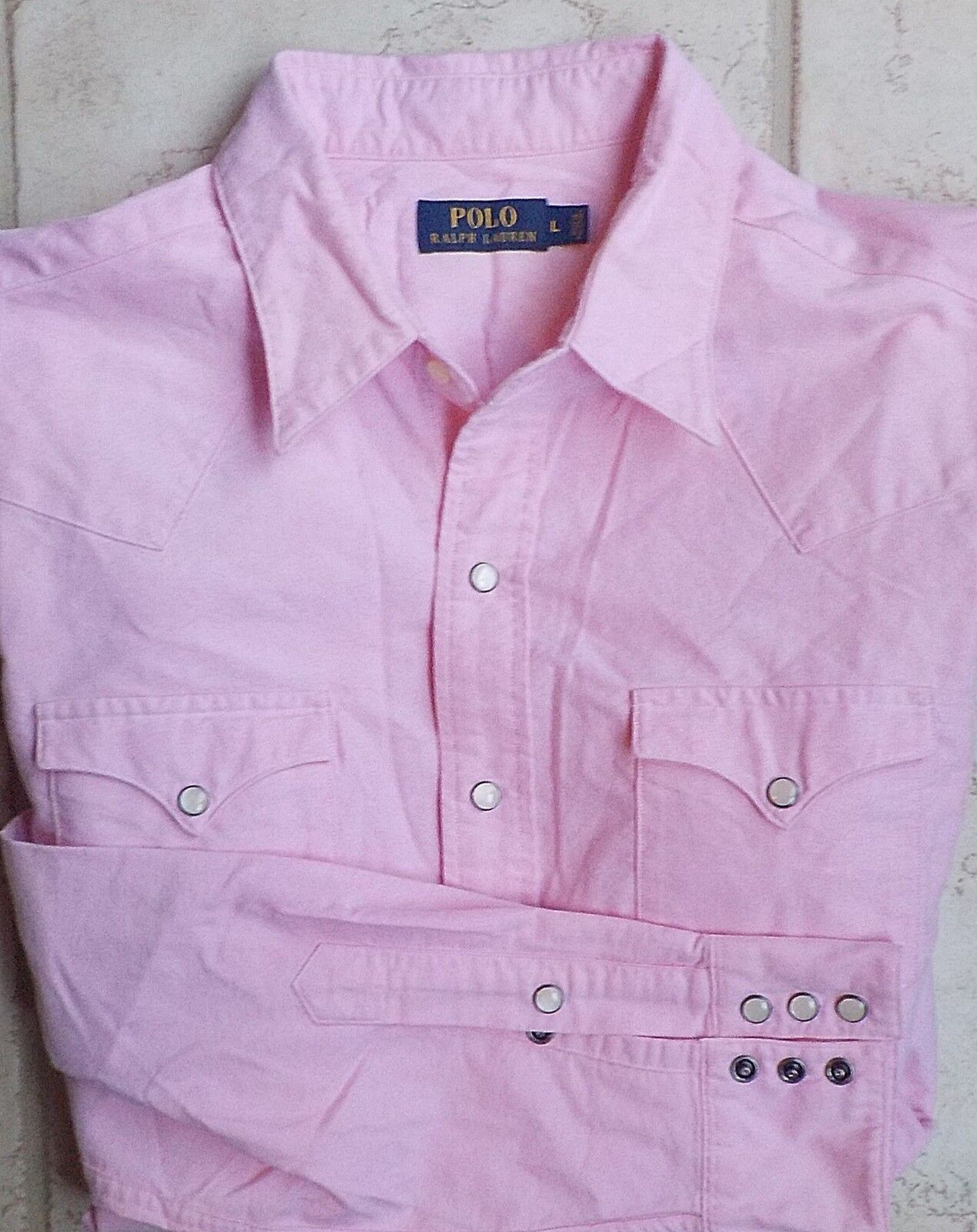 Polo Ralph Lauren  100% Cotton Western Snap Close Pinpoint Oxford Shirt Pink LG