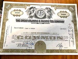 Vintage Share Certificate Atlantic Pacific Tea Company Ephemera History Document