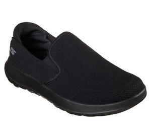 Go-Walk-Men-039-s-Black-Skechers-Shoes-55399-On-The-Soft-Woven-Casual-Slip-On-Mesh