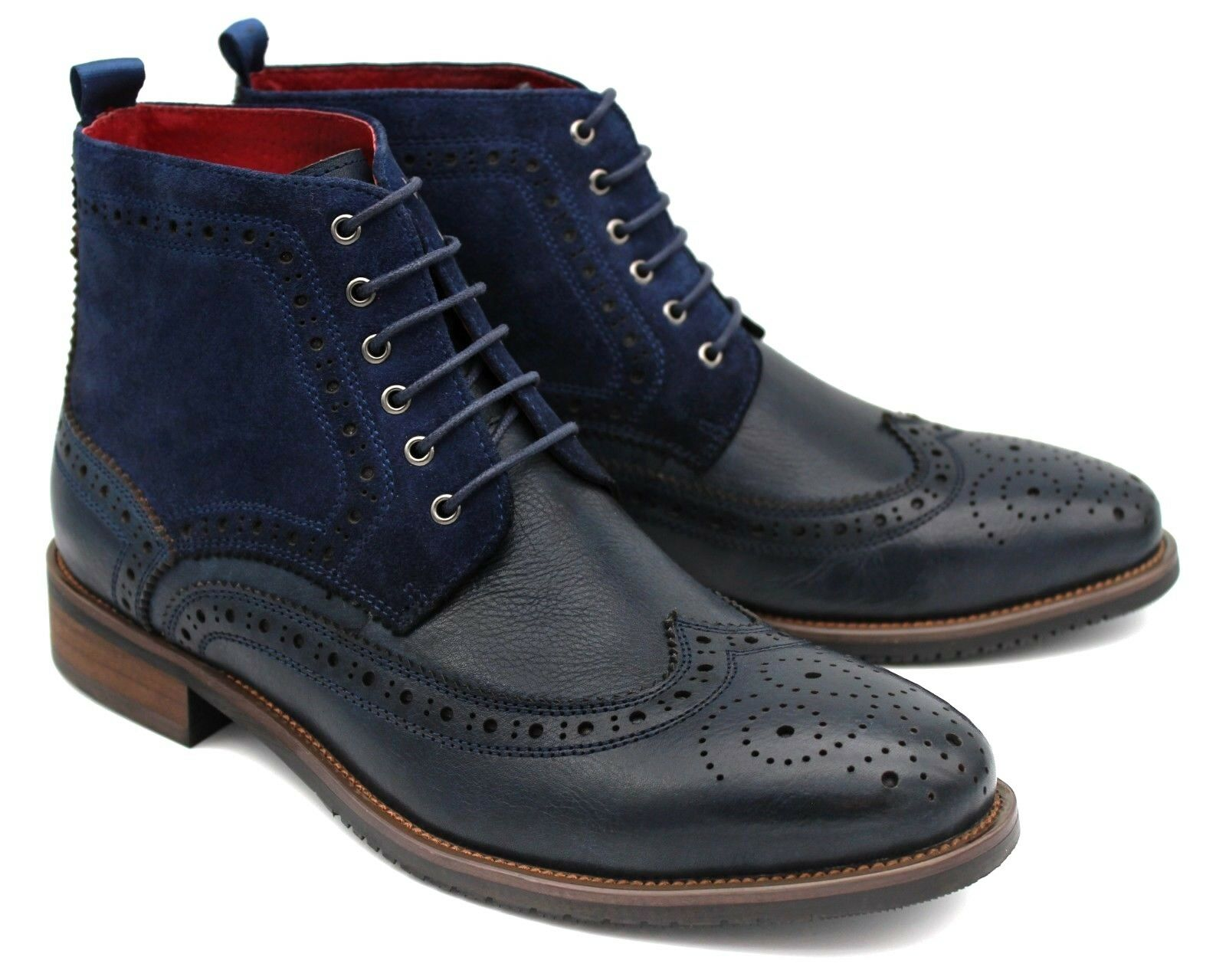 S51M UK 9 MENS NAVY blueE COMBAT BOOT LEATHER ANKLE MILITARY LACE UP BROGUE EU43
