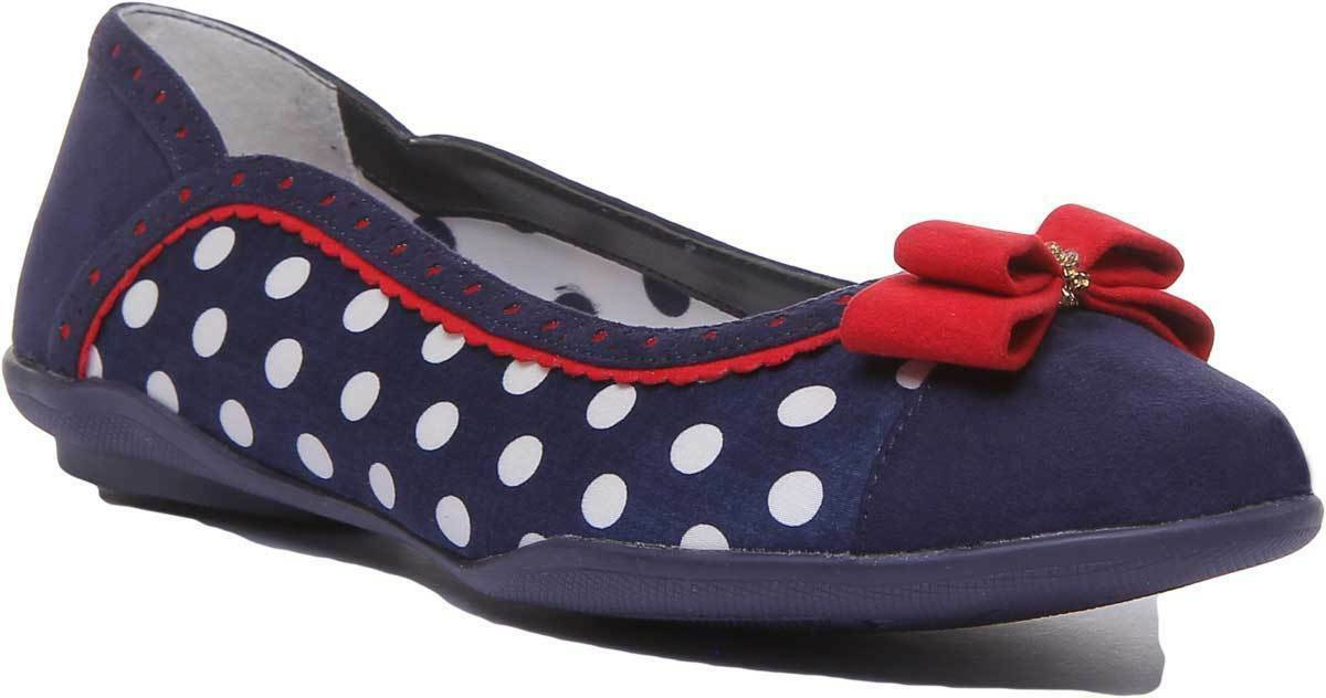 Ruby Shoo Lizzie Women Slip on Ballarinas Spot Canvas Flat In Navy UK Size 3 - 8