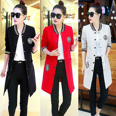 Korean Women Casual Button Down Slim Long Sleeve Jacket Baseball Coat Outwear 2X