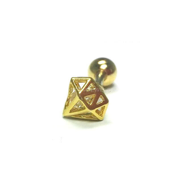 16G Gold Plated Diamond Shape CZ Crystal Body Lip Ear Piercing Stud Bar Earring
