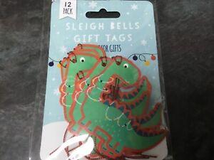 Dinosaur-Christmas-Gift-Tags-Xmas-Present-PACK-OF-12-TAGS