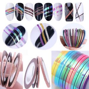 Multi-Colores-Nail-Sticker-Rollos-bandas-de-cinta-de-Arte-en-Unas-UV-Gel-Kit-Consejos-Hazlo-tu-mismo