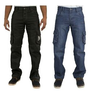 Mens-Cargo-Combat-Style-Black-Coated-Designer-Jeans-Pants-All-Sizes-28-48