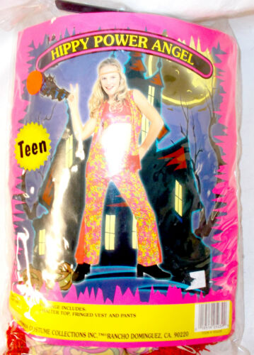 California Costume Hippie Girl Hippy Power Angel Pink Green Costume OSFM NIP