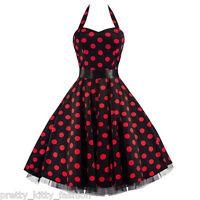 PRETTY KITTY VINTAGE 50s BLACK RED POLKA DOTS SWING PROM DRESS 8-26 FREE UK POST