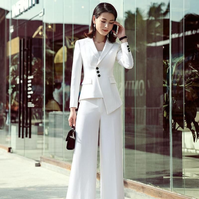Womens Business Interview Wide Leg Pant Suit Manager Coats Trouser Sets Blazer X
