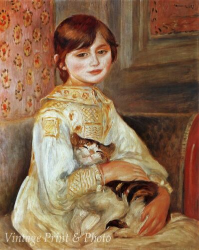 Julie Manet and Her Cat by Auguste Renoir Art Girl Hold Pet 8x10 Print 0934
