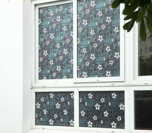 Flower Stained Glass Decorative Window Film PVC Static Cling Self Adhesive Glass