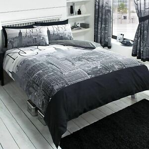 New-york-Ville-Noir-King-Taille-Housse-de-Couette-Neuf-Literie-Nyc