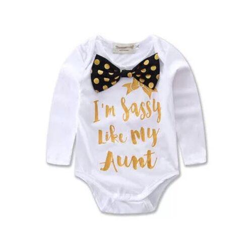 Slogan Sassy Tante Tante Babygrow combi popper Baby Infant Vêtements