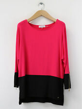 Calvin Klein Womens Fuchsia And Black Colourblock Zipped Top Size XS (UK 8)