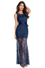 NEW CLASSY NAVY FLORAL LACE ZIP UP MAXI EVENING PARTY GOWN DRESS SIZE 8 10 UK
