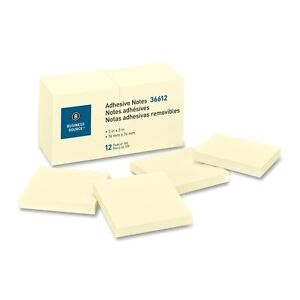 Business-Source-36612-Adhesive-Notes-3x3-100-Sheets-Pad-12-PK-Yellow
