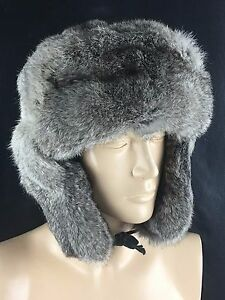 Image is loading Russian-Ushanka-Rabbit-Fur-Winter-Hat-Trapper-Bomber- b796d8469bd