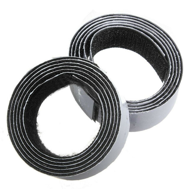 1m x20mm Self Adhesive Sticky Hook And Loop Roll Strap Fastener, Black, 20m Z8J4