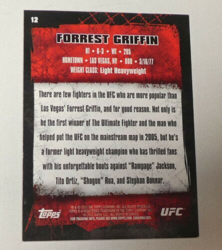 Forrest Griffin Signed UFC 2010 Topps Gold Card #12 Autograph 53 59 62 76 86 106